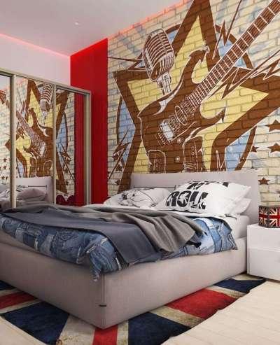 интерьер комнаты девочки в рок стиле