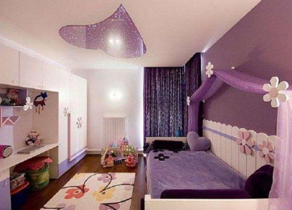 сиреневый интерьер комнаты девочки
