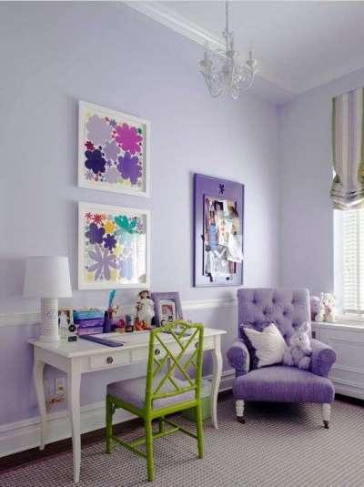 фиолетовый интерьер комнаты девочки