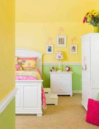 зелёно-жёлтая комната девочки