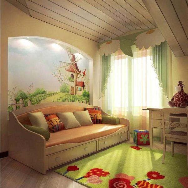 яркий ковёр для детской комнаты девочки