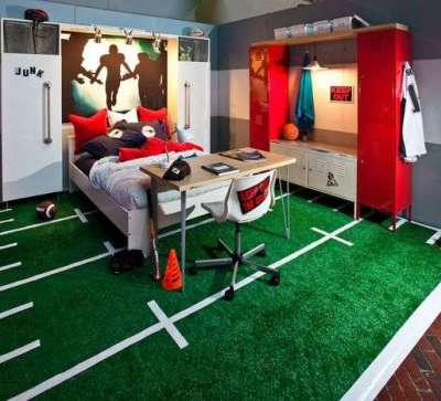ковёр футбольное поле в интерьере детской комнаты