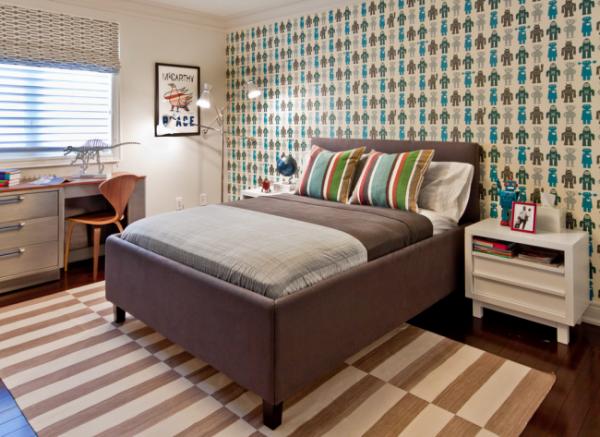полосатый ковёр в интерьере детской комнаты
