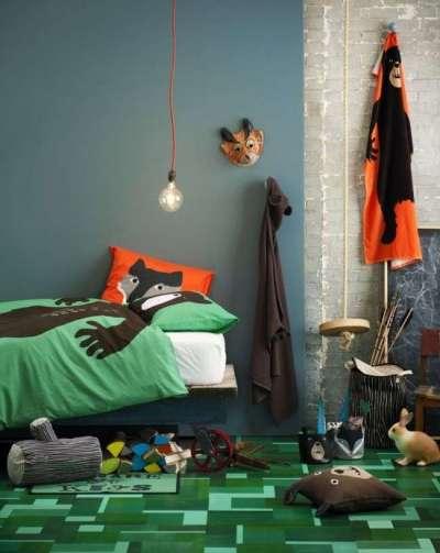 зелёный ковёр в интерьере детской комнаты