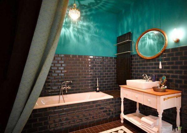 интерьер ванной комнаты с краской на стенах