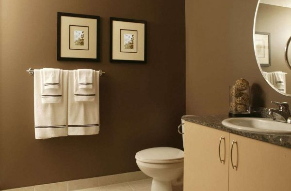 интерьер ванной комнаты с покраской стен