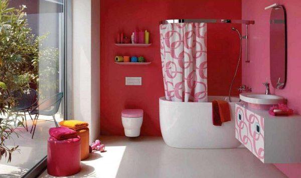 интерьер ванной комнаты с эмульсионной краской