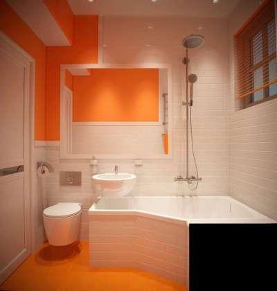 интерьер маленькой оранжевой ванной комнаты