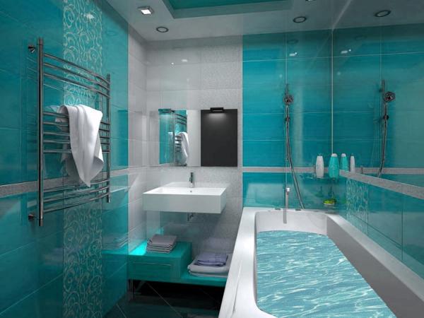 интерьер небольшой ванной комнаты с голубой плиткой