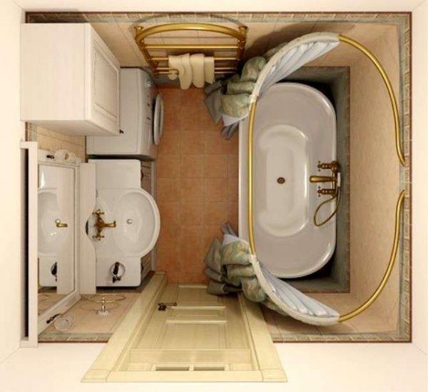 план размещения сантехники в ванной