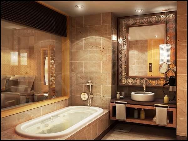 классическая ванная с зеркалом