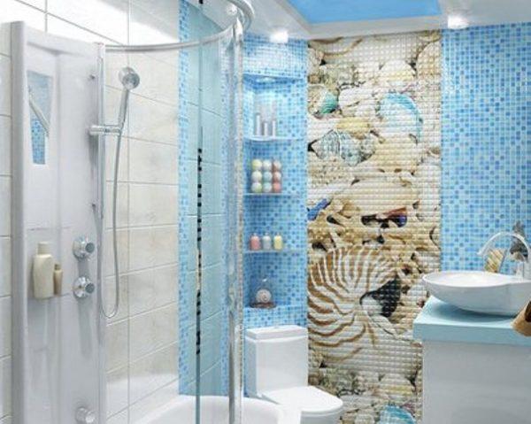 мозаика с морскими мотивами в ванной комнате