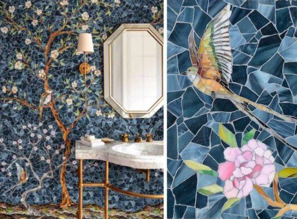 мозаичное панно в ванной комнате