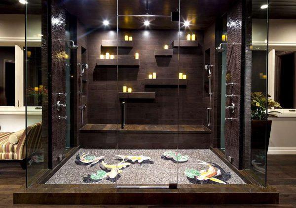 мозаика в ванной комнате в душевой кабине