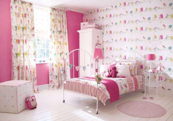 розовые обои для детской комнаты девочек