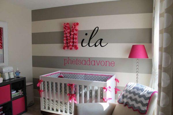 буквы на обоях в детской комнате девочки
