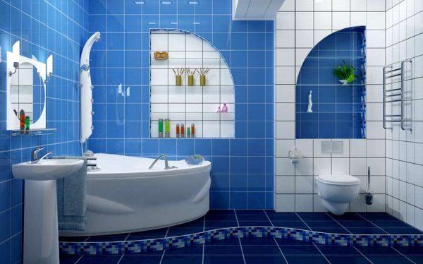 синяя плитка в ванной своими руками