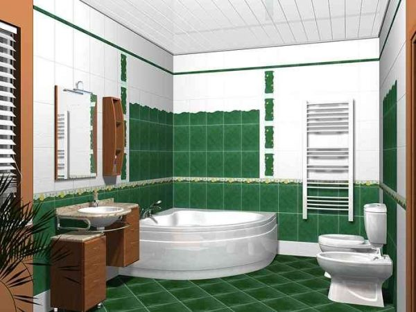 панели пвх на потолке в интерьере ванной комнаты