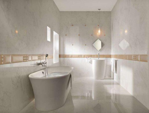 дизайн ванной с плиткой из натурального камня