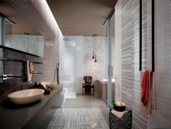 дизайн ванной комнаты с бежевой плиткой