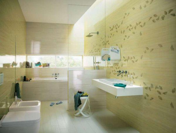 зелёная плитка в интерьере ванной