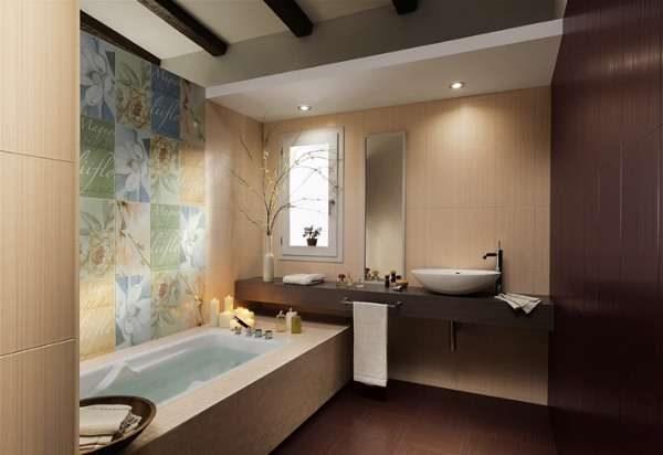 плитка в интерьере ванной комнаты
