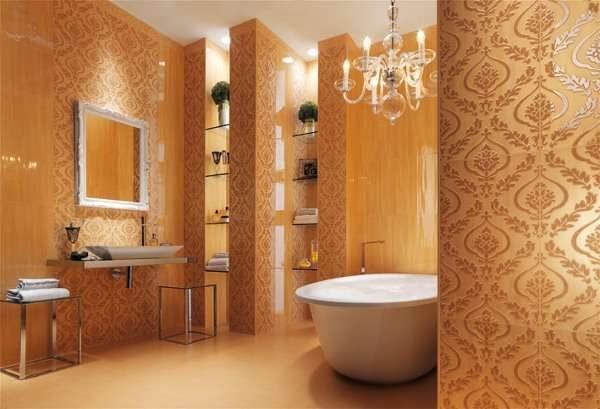 плитка с узором в ванной комнате