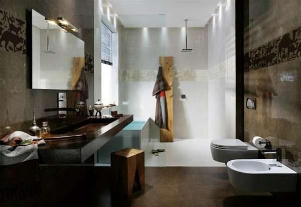 кофейный интерьер ванной комнаты