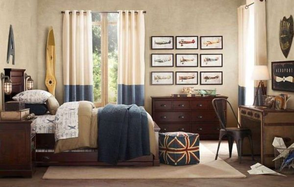 длинные шторы в комнату подростка