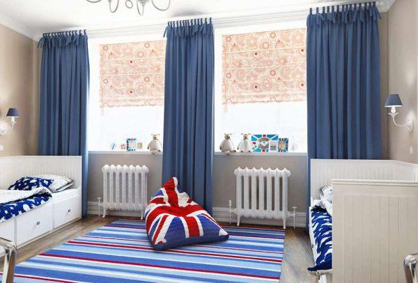 прямые шторы в комнате мальчика