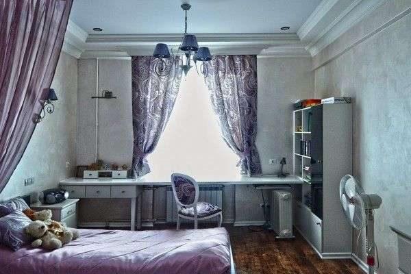 фиолетовые прямые шторы для детской комнаты мальчика