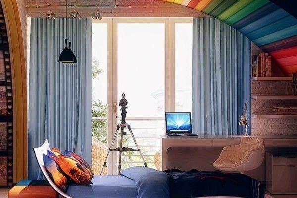 прямые голубые шторы в комнате мальчика