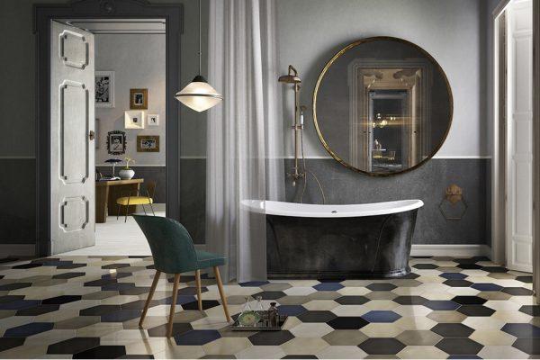 интерьер ванной комнаты с шестигранной плиткой