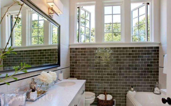 интерьер ванной комнаты с использованием клинкерной плитки