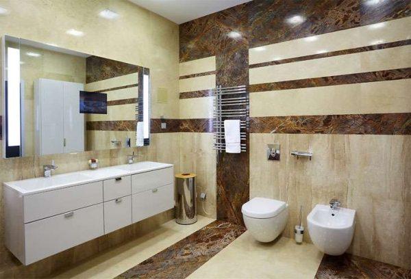 натуральный мрамор в интерьере ванной