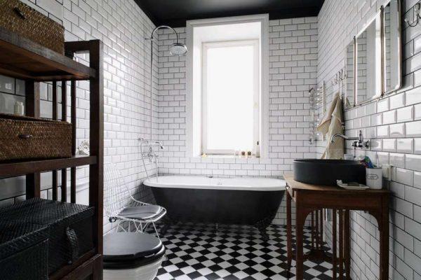 интерьер ванной комнаты в лофт стиле
