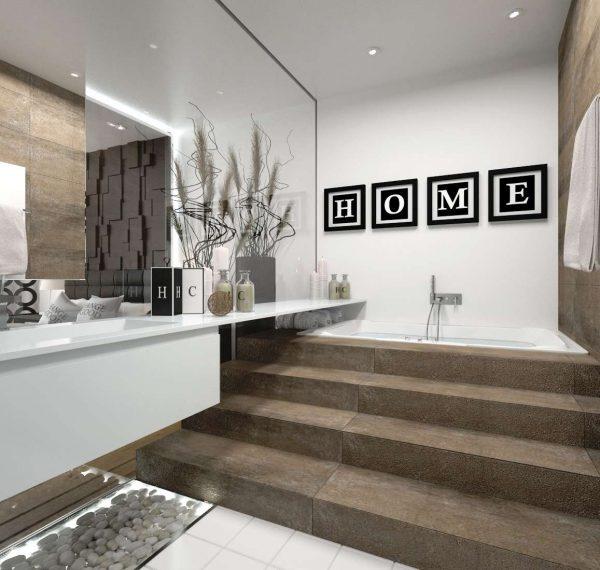 современный интерьер ванной комнаты с надписью на стене