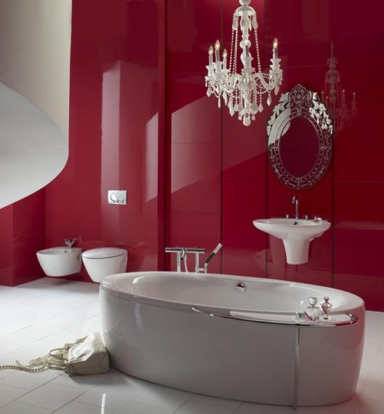современная ванная комната с глянцевой плиткой