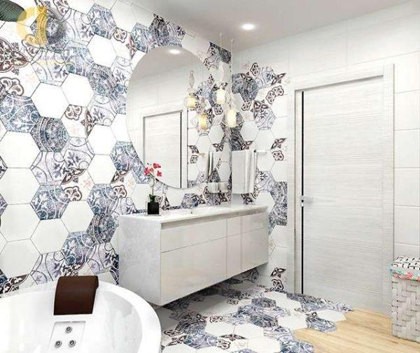 современный интерьер ванной комнаты с шестигранной плиткой на стене