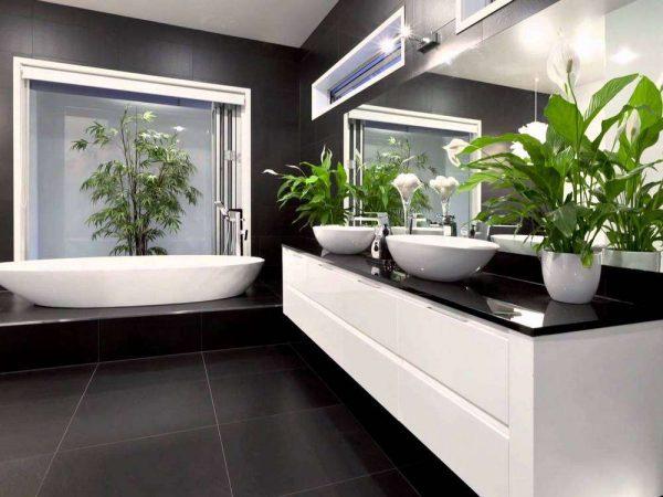 современная ванная комната с цветами
