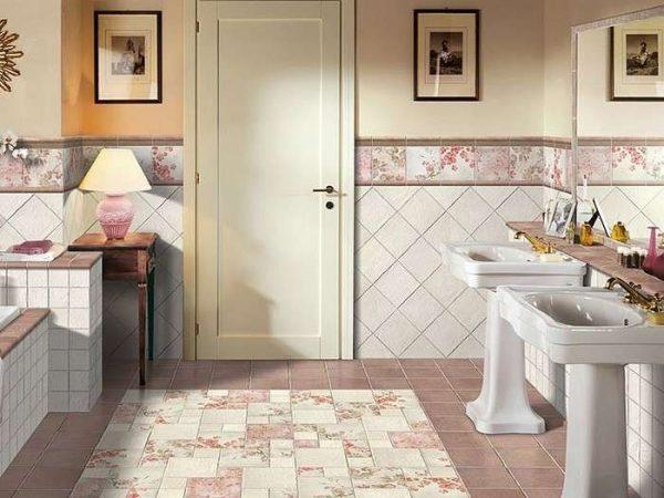 интерьер ванной комнаты с плиткой по диагонали