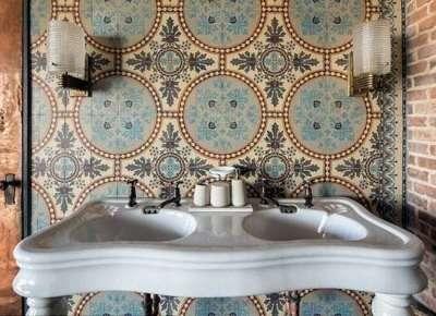 интерьер ванной комнаты в этно стиле