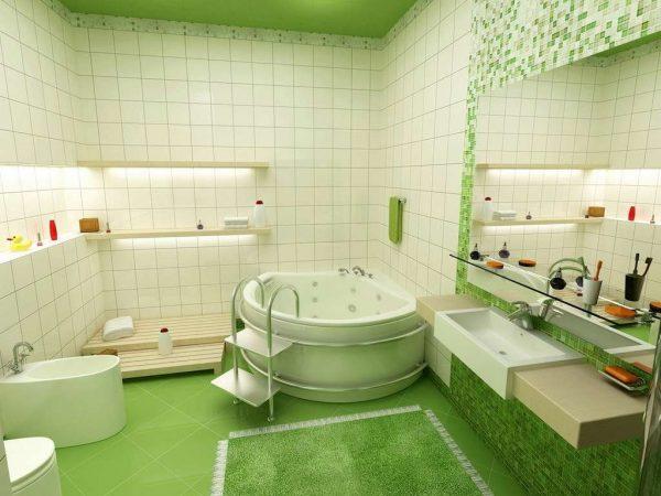 зелёный интерьер ванной комнаты с плиткой