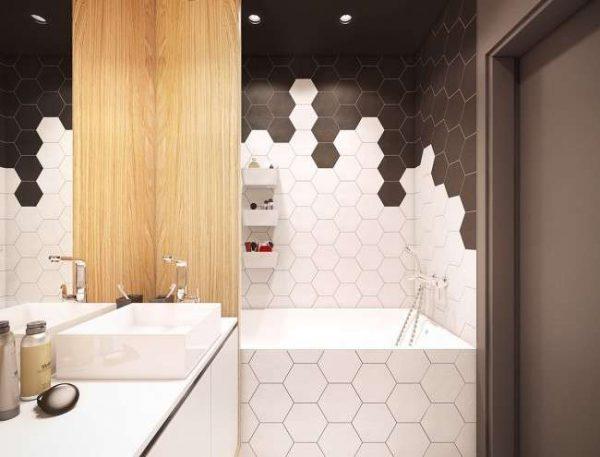 интерьер ванной комнаты с белой и коричневой плиткой