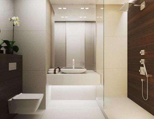 минимализм в ванной с душевой кабиной