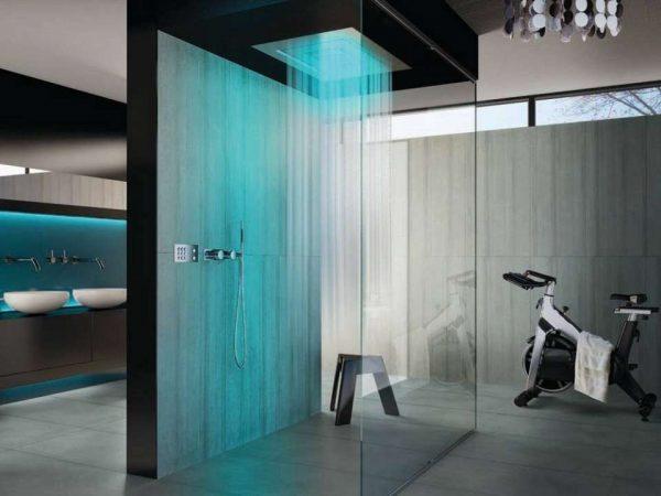душевая кабина в ванной комнате в стиле хай тек