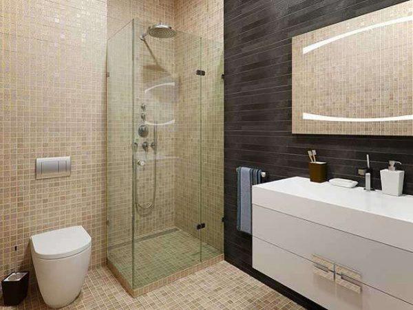 ванная комната с квадратной душевой кабиной