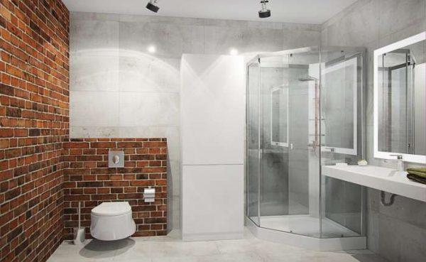 угловой душ в ванной