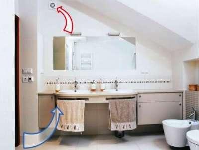 в ванной комнате принудительная вентиляция