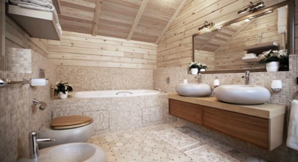 зеркало в ванной деревянного дома